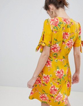 photo Tea Dress with Tie Sleeves in Vintage Bloom by Neon Rose, color Mustard Floral - Image 2