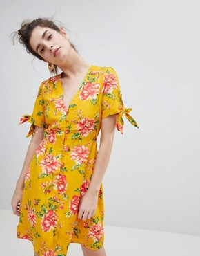 photo Tea Dress with Tie Sleeves in Vintage Bloom by Neon Rose, color Mustard Floral - Image 1
