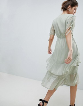photo Midi Tea Dress with Ruffle Layer in Ditsy Spot by Neon Rose, color Sage Spot - Image 2