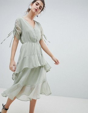 photo Midi Tea Dress with Ruffle Layer in Ditsy Spot by Neon Rose, color Sage Spot - Image 1