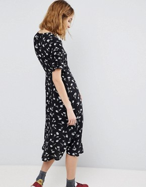 photo Floral Button Wrap Midi Dress by Reclaimed Vintage Inspired, color Black - Image 2