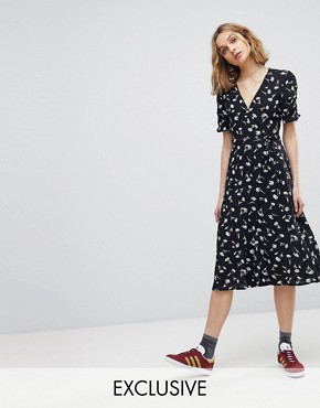 photo Floral Button Wrap Midi Dress by Reclaimed Vintage Inspired, color Black - Image 1