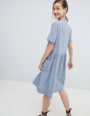 photo Stripe Shirt Dress by Selected, color Blue - Image 2