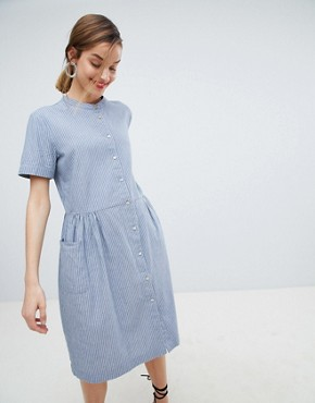 photo Stripe Shirt Dress by Selected, color Blue - Image 1