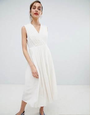 photo Pleated Wrap Dress by Selected, color Birch - Image 1