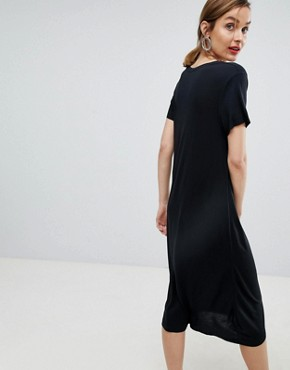 photo Femme Jersey Midi Dress by Selected, color Black - Image 2