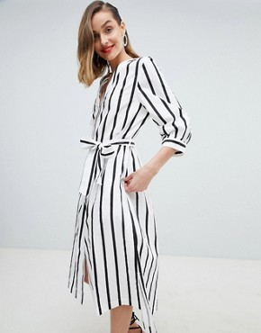 photo Femme Stripe Midi Dress with Tie Waist by Selected, color Multi - Image 1