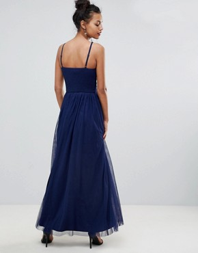 photo Applique High Neck Maxi Dress by Little Mistress, color Navy - Image 2