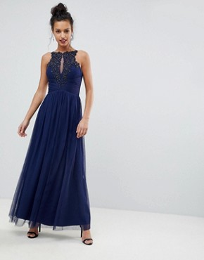 photo Applique High Neck Maxi Dress by Little Mistress, color Navy - Image 1