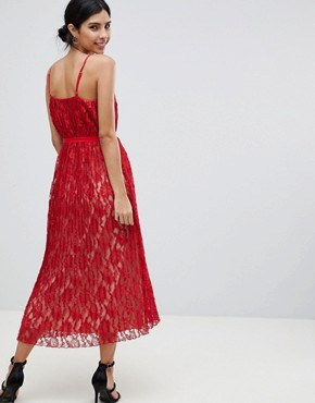 photo All Over Lace Midaxi Cami Dress by Little Mistress, color Red - Image 2
