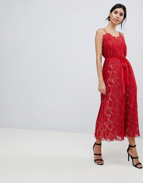 photo All Over Lace Midaxi Cami Dress by Little Mistress, color Red - Image 1