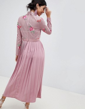 photo Embroidered Lace Top Midaxi Dress with Pleated Skirt by Little Mistress, color Mauve - Image 2