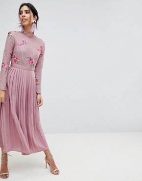 photo Embroidered Lace Top Midaxi Dress with Pleated Skirt by Little Mistress, color Mauve - Image 1