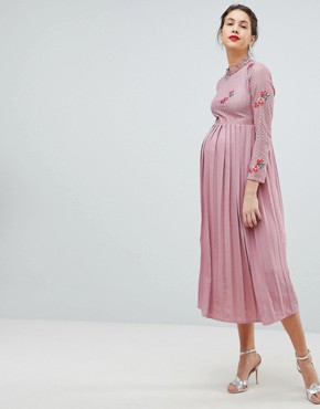 photo Embroidered Lace Top Midaxi Dress with Pleated Skirt by Little Mistress Maternity, color Mauve - Image 4