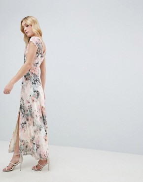 photo Button Through Maxi Dress in Romantic Floral Print by Little Mistress Tall, color Multi - Image 2