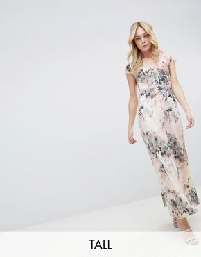 photo Button Through Maxi Dress in Romantic Floral Print by Little Mistress Tall, color Multi - Image 1