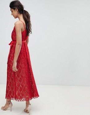 photo All Over Lace Midaxi Cami Dress by Little Mistress Tall, color Red - Image 2