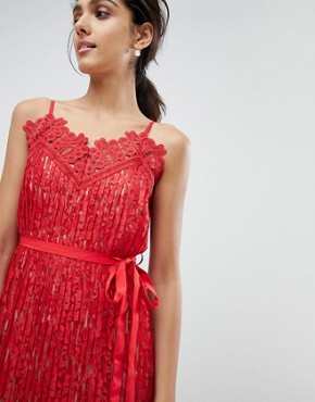 photo All Over Lace Midaxi Cami Dress by Little Mistress Tall, color Red - Image 3