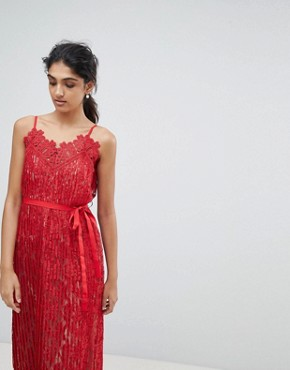photo All Over Lace Midaxi Cami Dress by Little Mistress Tall, color Red - Image 4