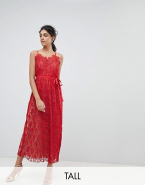 photo All Over Lace Midaxi Cami Dress by Little Mistress Tall, color Red - Image 1