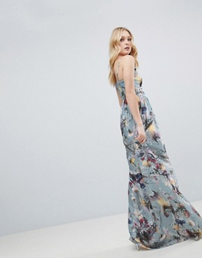 photo Maxi Dress in Floral Print by Little Mistress Tall, color Multi - Image 2