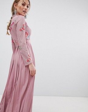 photo Embroidered Lace Top Midaxi Dress with Pleated Skirt by Little Mistress Petite, color Mauve - Image 2
