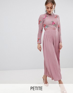 photo Embroidered Lace Top Midaxi Dress with Pleated Skirt by Little Mistress Petite, color Mauve - Image 1