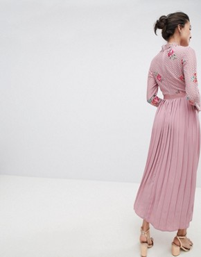 photo Embroidered Lace Top Midaxi Dress with Pleated Skirt by Little Mistress Tall, color Mauve - Image 2