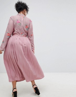 photo Embroidered Lace Top Midaxi Dress with Pleated Skirt by Little Mistress Plus, color Mauve - Image 2