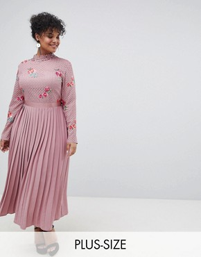 photo Embroidered Lace Top Midaxi Dress with Pleated Skirt by Little Mistress Plus, color Mauve - Image 1