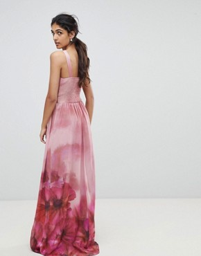 photo High Neck Full Bloom Floral Maxi Dress by Little Mistress Tall, color Multi - Image 2