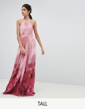 photo High Neck Full Bloom Floral Maxi Dress by Little Mistress Tall, color Multi - Image 1