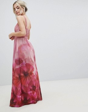 photo High Neck Full Bloom Floral Maxi Dress by Little Mistress Petite, color Multi - Image 2
