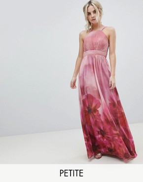 photo High Neck Full Bloom Floral Maxi Dress by Little Mistress Petite, color Multi - Image 1