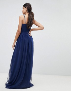 photo Applique High Neck Maxi Dress by Little Mistress Tall, color Navy - Image 2