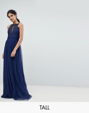photo Applique High Neck Maxi Dress by Little Mistress Tall, color Navy - Image 1