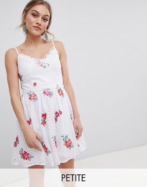 photo Full Prom Skater Dress in Rose Embroidery by Little Mistress Petite, color Cream Multi - Image 1
