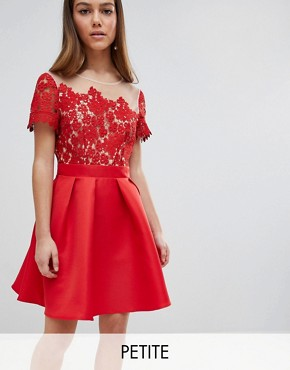 photo Lace Top Mini Prom Dress by Little Mistress Petite, color Red - Image 1