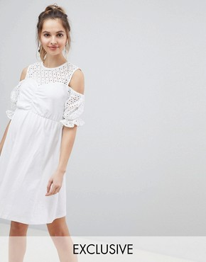 photo Maternity Cold Shoulder Cotton Skater Dress with Broderie Puff Sleeves by ASOS DESIGN, color White - Image 1