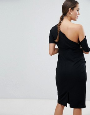 photo Maternity Pleated Shoulder Pencil Dress by ASOS DESIGN, color Black - Image 2
