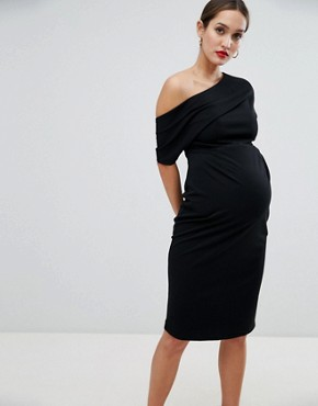 photo Maternity Pleated Shoulder Pencil Dress by ASOS DESIGN, color Black - Image 1