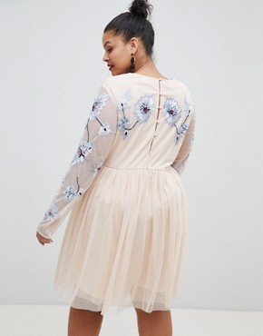 photo Pastel Embroidered Tulle Mini Dress by ASOS DESIGN Curve, color Blush - Image 2