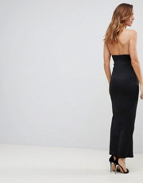 photo Mono Plunge Cami Maxi Dress with Thigh Split by ASOS, color Mono - Image 2