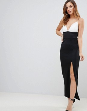photo Mono Plunge Cami Maxi Dress with Thigh Split by ASOS, color Mono - Image 1