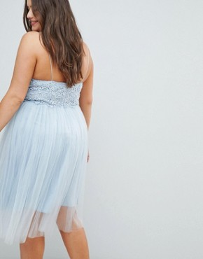 photo Premium Lace Cami Top Tulle Midi Dress by ASOS DESIGN Curve, color Grey Blue - Image 2