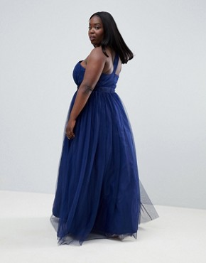 photo Premium Tulle One Shoulder Maxi Dress by ASOS DESIGN Curve, color Navy - Image 2