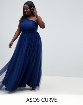 photo Premium Tulle One Shoulder Maxi Dress by ASOS DESIGN Curve, color Navy - Image 1
