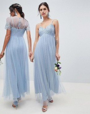photo Bridesmaid Lace and Dobby Mesh Overlay Maxi Dress by ASOS DESIGN, color Dusty Blue - Image 2