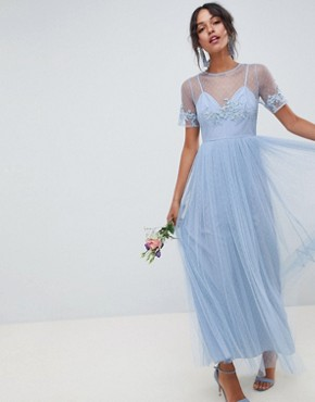 photo Bridesmaid Lace and Dobby Mesh Overlay Maxi Dress by ASOS DESIGN, color Dusty Blue - Image 1