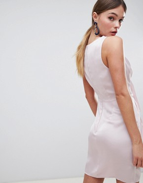 photo Sexy Knot Front Mini Dress in Satin by ASOS DESIGN, color Mink - Image 2